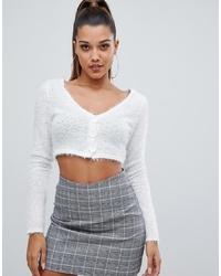 Jersey corto de angora blanco de PrettyLittleThing