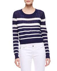 Jersey corto de rayas horizontales en azul marino y blanco