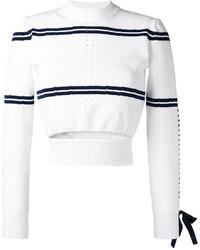 Jersey corto de rayas horizontales en blanco y azul marino de Fendi
