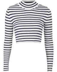 Jersey corto de rayas horizontales en blanco y negro