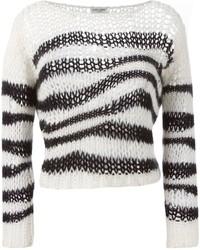 Jersey corto de rayas horizontales en negro y blanco de Saint Laurent
