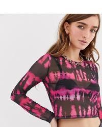 Jersey corto efecto teñido anudado rosado de Asos Petite