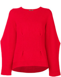 Jersey de cachemir de punto rojo de Alexander McQueen
