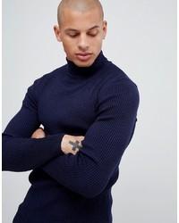 Jersey de cuello alto azul marino de ASOS DESIGN