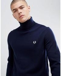Jersey de cuello alto azul marino de Fred Perry