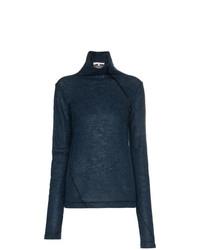 Jersey de cuello alto azul marino de Helmut Lang