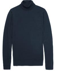 Jersey de cuello alto azul marino de John Smedley
