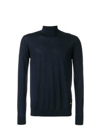 Jersey de cuello alto azul marino de Versace