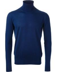 Jersey de cuello alto azul de Ermanno Scervino
