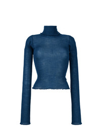 Jersey de cuello alto azul de MM6 MAISON MARGIELA