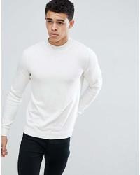 Jersey de cuello alto blanco de New Look