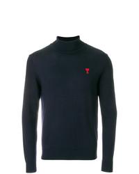 Jersey de cuello alto bordado azul marino de AMI Alexandre Mattiussi