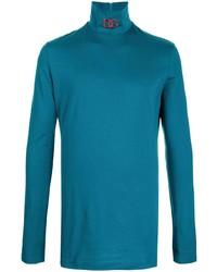Jersey de cuello alto bordado en verde azulado de Dolce & Gabbana