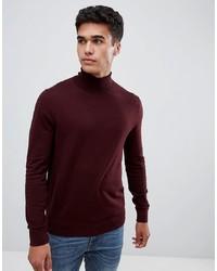 Jersey de cuello alto burdeos de Burton Menswear
