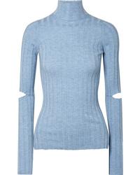 Jersey de cuello alto celeste de Helmut Lang