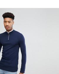 Jersey de cuello alto con cremallera azul marino de ASOS DESIGN