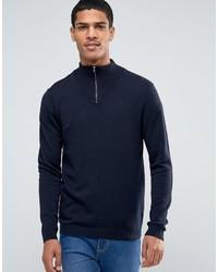 Jersey de cuello alto con cremallera azul marino de Asos