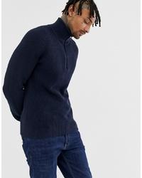Jersey de cuello alto con cremallera azul marino de BOSS