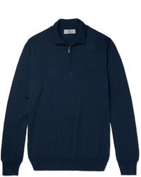 Jersey de cuello alto con cremallera azul marino de Canali