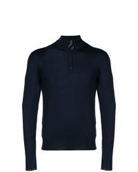 Jersey de cuello alto con cremallera azul marino de Eleventy