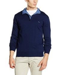 Jersey de cuello alto con cremallera azul marino de Harmont & Blaine