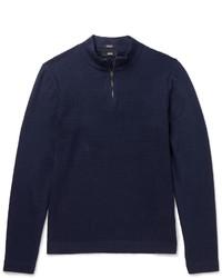 Jersey de cuello alto con cremallera azul marino de Hugo Boss