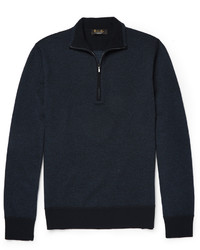 Jersey de cuello alto con cremallera azul marino de Loro Piana