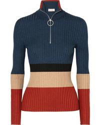 Jersey de cuello alto con cremallera azul marino de Marni