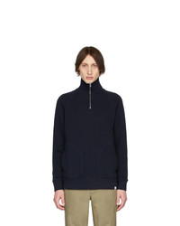 Jersey de cuello alto con cremallera azul marino de Norse Projects