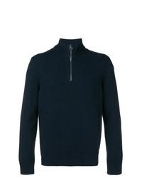 Jersey de cuello alto con cremallera azul marino de Salvatore Ferragamo