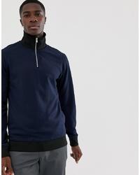 Jersey de cuello alto con cremallera azul marino de Selected Homme