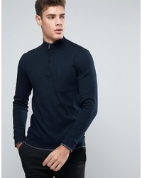 Jersey de cuello alto con cremallera azul marino de Ted Baker