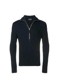 Jersey de cuello alto con cremallera azul marino de Tom Ford
