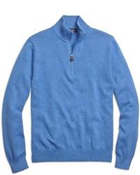 Jersey de cuello alto con cremallera azul