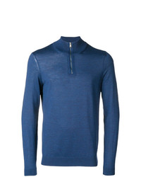 Jersey de cuello alto con cremallera azul de BOSS HUGO BOSS