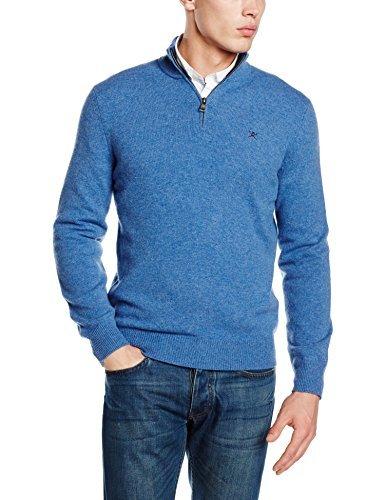 Jersey de cuello alto con cremallera azul de Hackett London