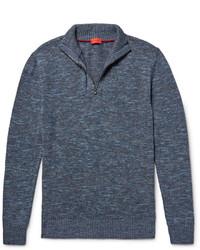 Jersey de cuello alto con cremallera azul de Isaia