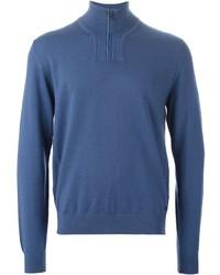 Jersey de cuello alto con cremallera azul de Z Zegna