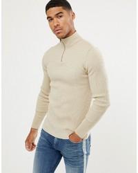 Jersey de cuello alto con cremallera en beige de ASOS DESIGN