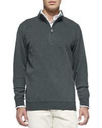 Jersey de cuello alto con cremallera en gris oscuro