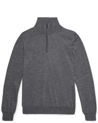 Jersey de cuello alto con cremallera en gris oscuro de Brioni