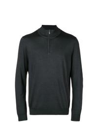Jersey de cuello alto con cremallera en gris oscuro de Canali