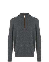 Jersey de cuello alto con cremallera en gris oscuro de Cenere Gb