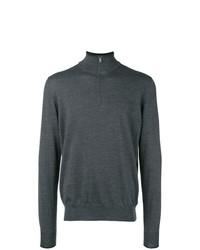 Jersey de cuello alto con cremallera en gris oscuro de Fay