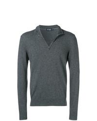 Jersey de cuello alto con cremallera en gris oscuro de Hackett
