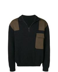 Jersey de cuello alto con cremallera en gris oscuro de Holland & Holland