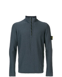 Jersey de cuello alto con cremallera en gris oscuro de Stone Island