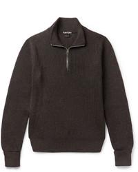 Jersey de cuello alto con cremallera en marrón oscuro de Tom Ford