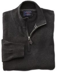 Jersey de Cuello Alto con Cremallera Gris Oscuro de Charles Tyrwhitt