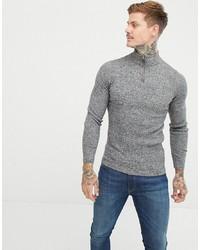 Jersey de cuello alto con cremallera gris de ASOS DESIGN